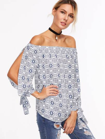 Ornate Print Off The Shoulder Tied Split Sleeve Top pictures