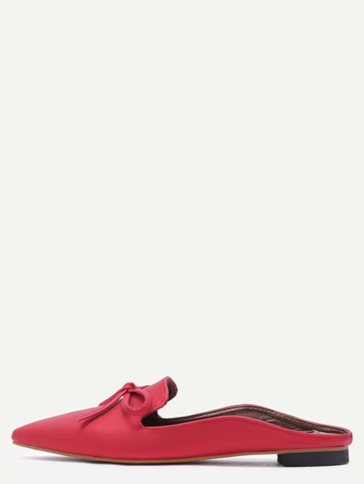 Red Satin Point Toe Bow Loafers