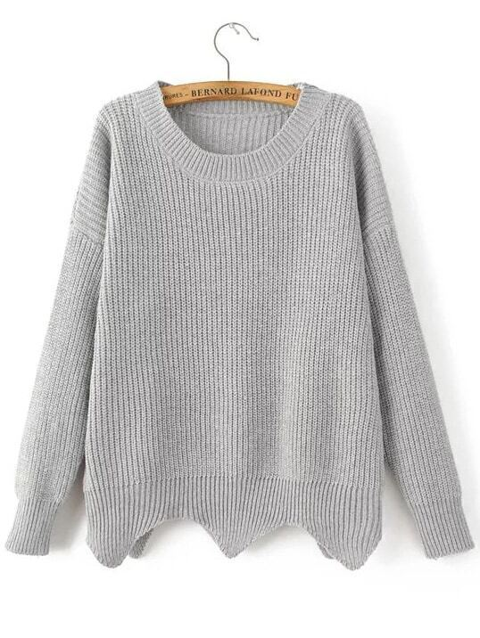 Grey Drop Shoulder Asymmetrical Sweater sweater161104203