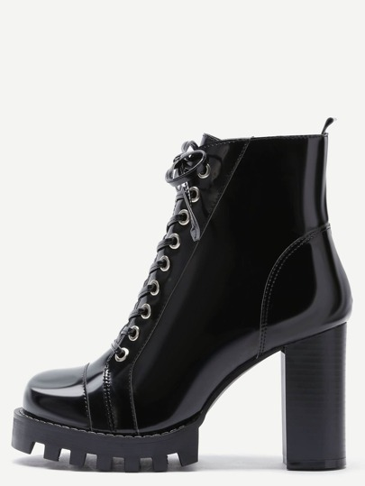 Black Patent Leather Cap Toe Topstitch High Heel Boots