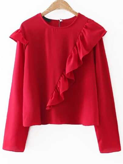 Red Long Sleeve Keyhole Back Ruffle Blouse
