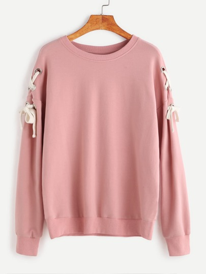 Pink Drop Shoulder Eyelet Lace Up Sweatshirt