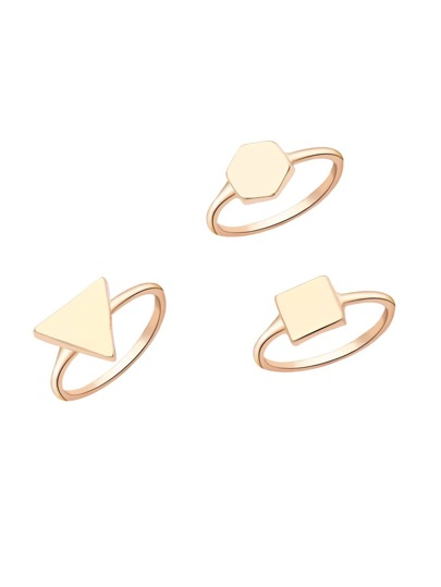 Gold Minimalism Geo Ring Set