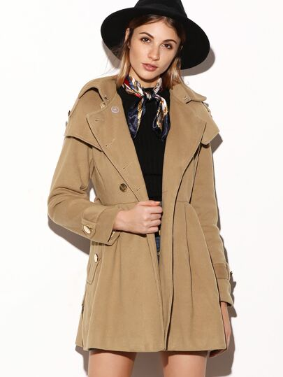 Khaki Double Breasted Cape Coat
