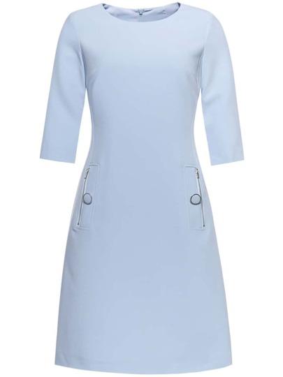 Blue Crew Neck Zipper Shift Dress