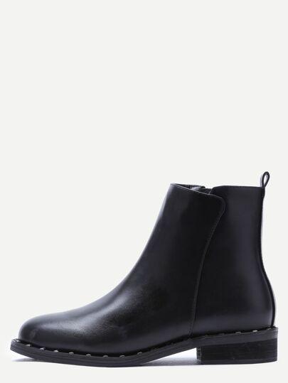 Black Faux Leather Point Toe Side Zipper Booties