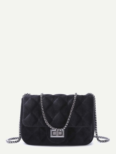 Black Velvet Meander Pattern Quilted Crossbody With Chain Strap