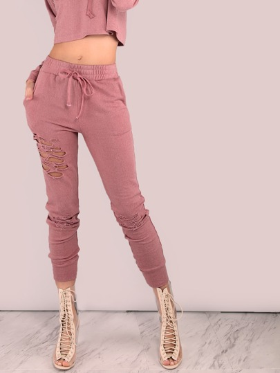 Distressed Drawstring Sweatpants MAUVE