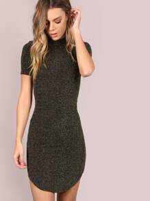 Black Mock Neck Curved Hem Bodycon Dress