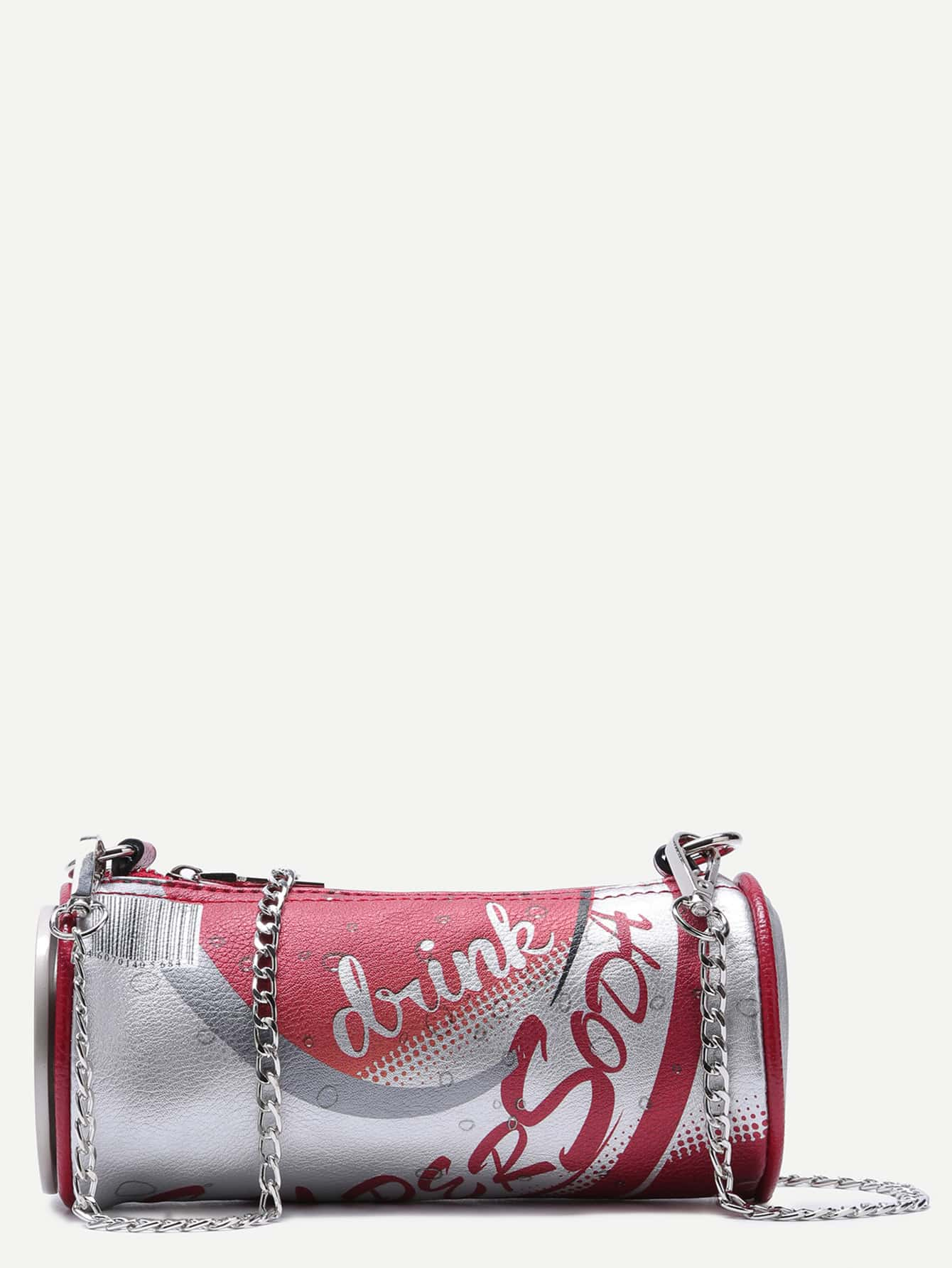 Red Super Soda Zip Side Can Bag With Chain Strap