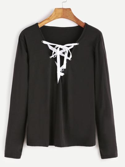 T-shirt mit Schnürungen V-Ausschnitt-schwarz