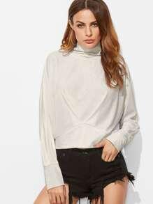 White Cowl Neck Pleated Front Sweatshirt