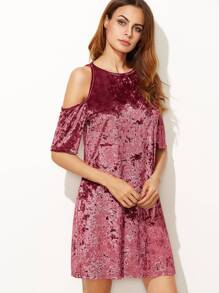 Burgundy Cold Shoulder Keyhole Back Crushed Velvet Dress
