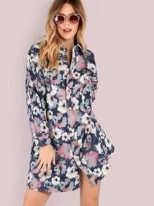 Oversized Floral Print Lighweight Denim Jacket DENIM