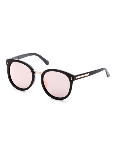 Black Frame Rose Gold Lens Metal Trim Sunglasses