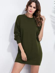 Army Green Drop Shoulder Sweatshirt Dress