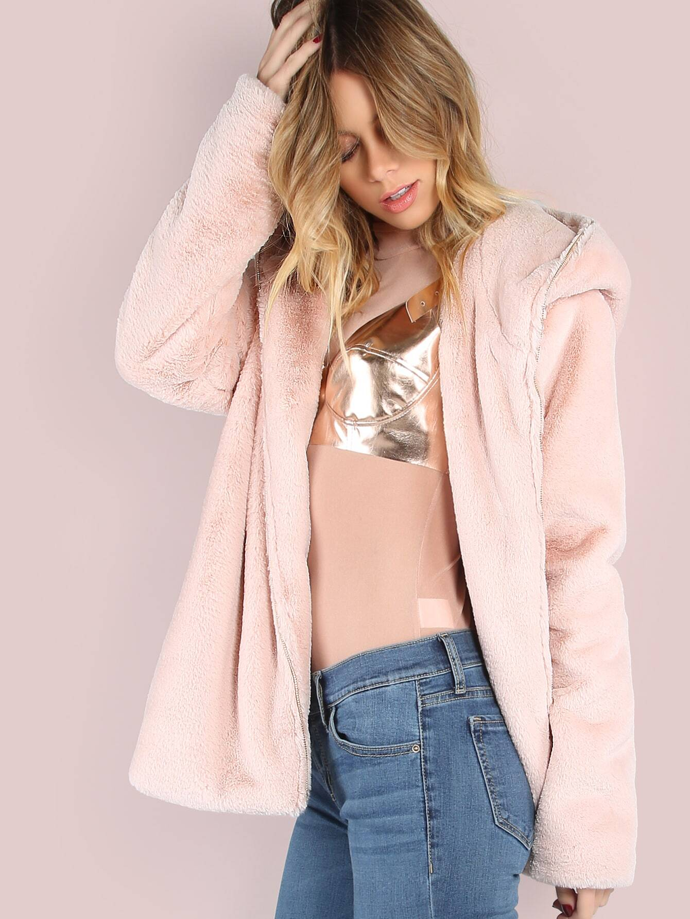 Coats Hot Pink Hooded Casual Zipper Short Winter Plain Fabric has no stretch Long Sleeve Outerwear.