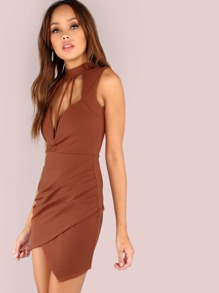 Backless Plunge Asymmetrical Crepe Bodycon Mini Dress COGNAC