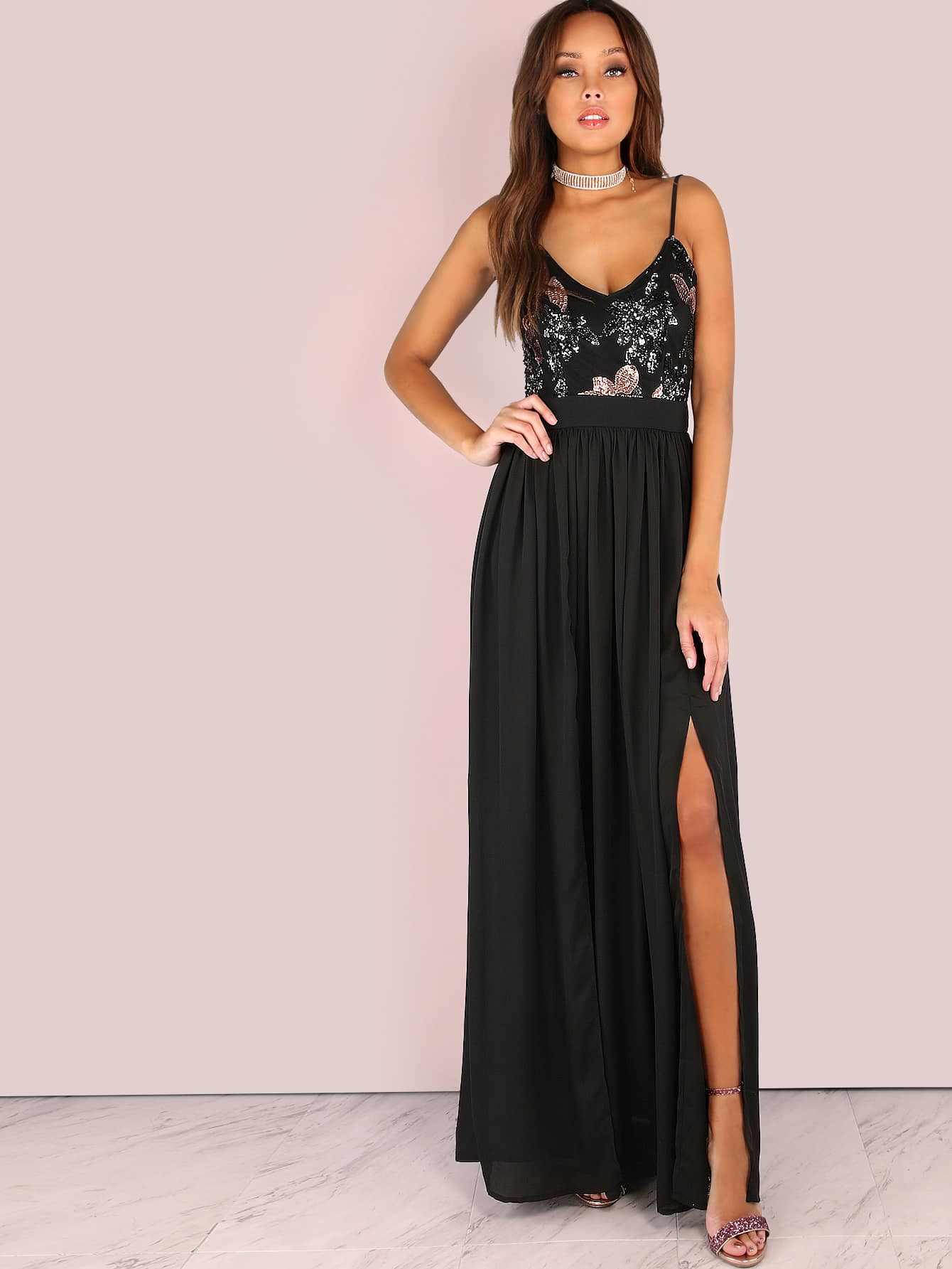 Sequin Floral Backless Maxi Double Slit Maxi Dress BLACK -SheIn ...