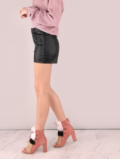 High Waisted Faux Leather Crossed Shorts BLACK