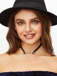 Black Metal Bar Leather Choker Necklace