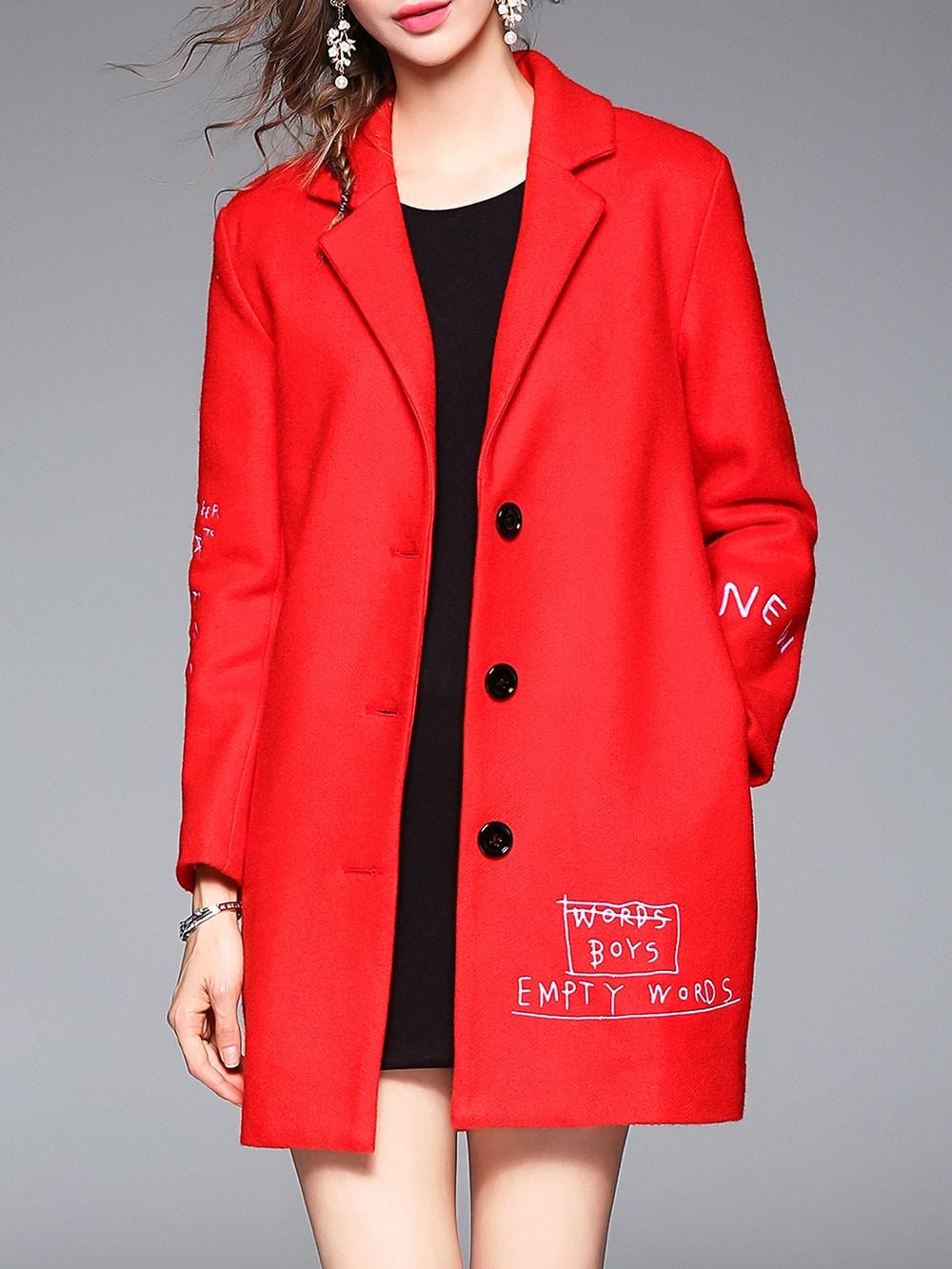 Фото Red Lapel Letters Embroidered Pockets Coat. Купить с доставкой