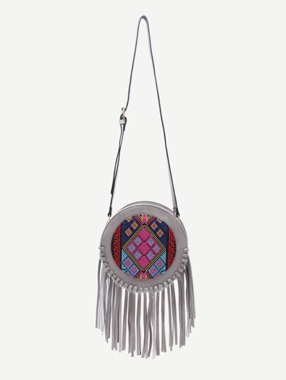Grey Tribal Print Round Shaped Fringe Shoulder Bag