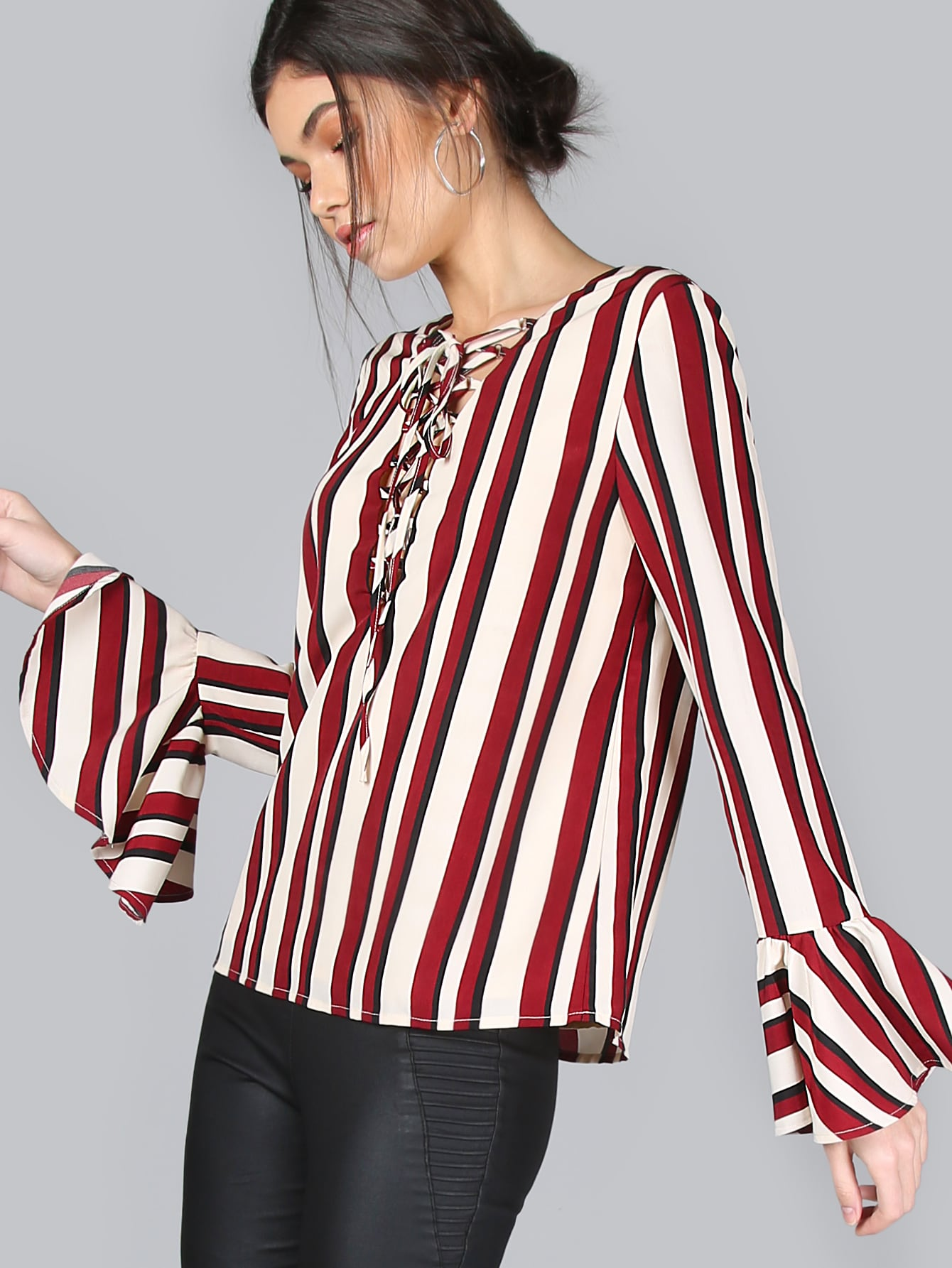 Multicolor Striped Lace Up Bell Sleeve Blouse blousemmc161128702