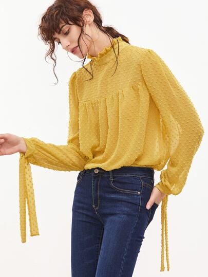 Yellow Tied Ruffle Collar And Sleeve Dot Jacquard Top
