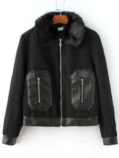 Abrigo con borreguito y cremallera - negro