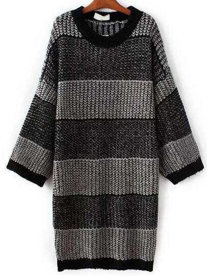 Black Striped Drop Shoulder Loose Sweater Dress