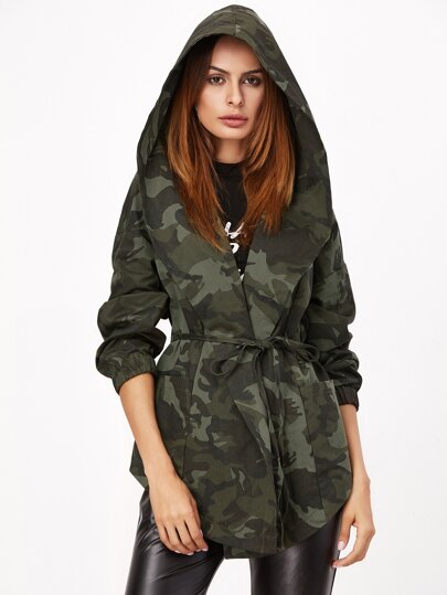 Olive Green Camo Print Hooded Shawl Collar Wrap Jacket