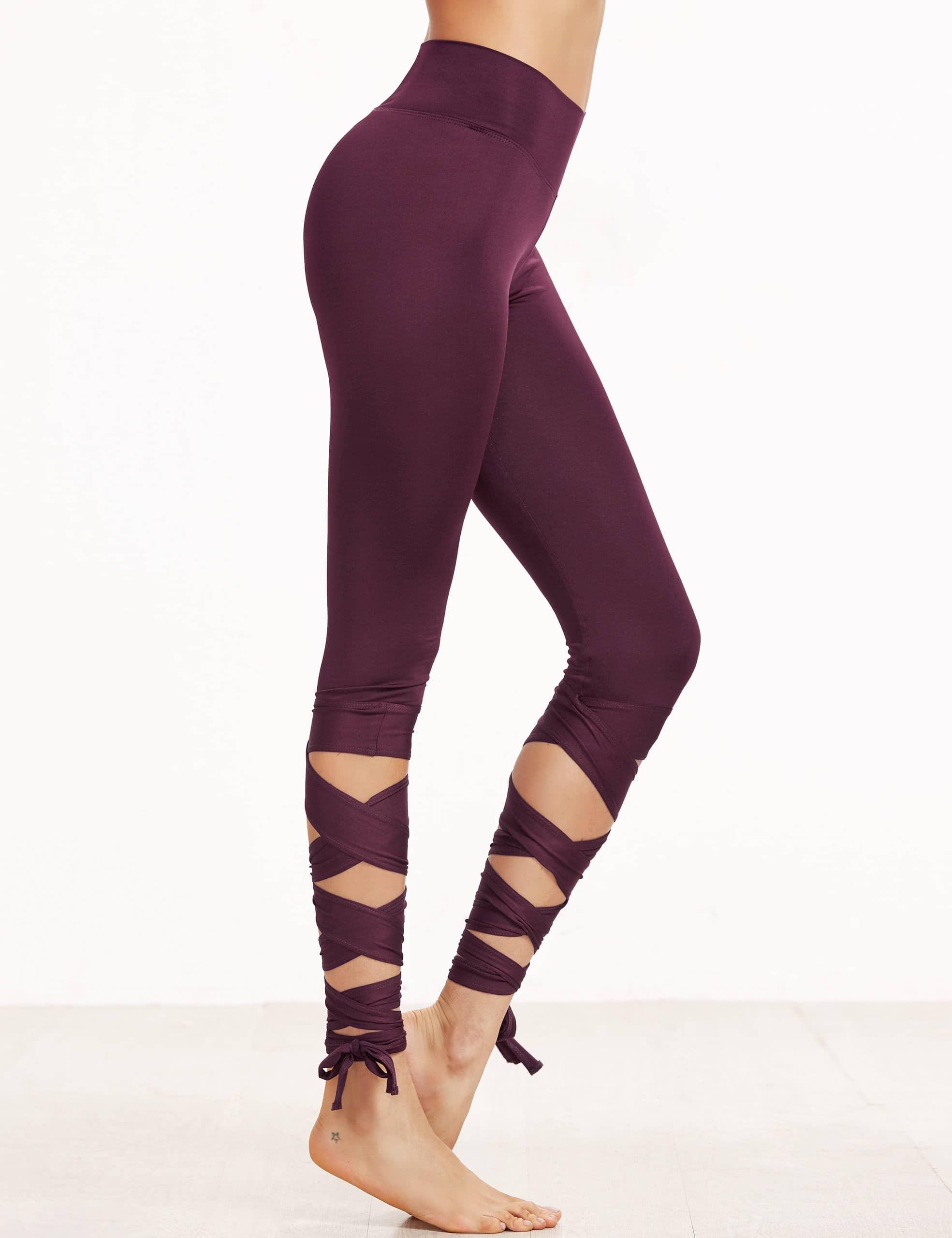 Purple Crisscross Wrap Leggings