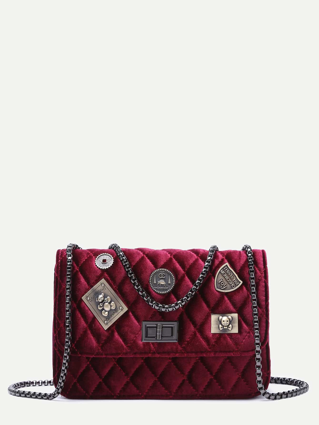 Maroon Embellished Boxy Quilted Crossbody Chain Bag metal lock quilted crossbody chain bag