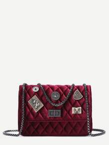 Maroon Embellished Boxy Quilted Crossbody Chain Bag