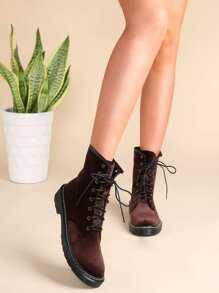 Round Toe Velvet Boots BROWN