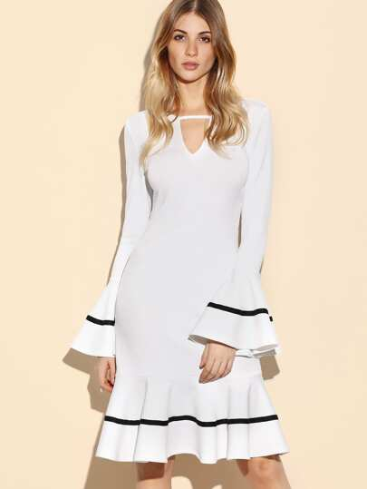 Flute Sleeve Keyhole Front Striped Hem Dress