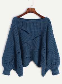 Navy Lantern Sleeve Hollow Sweater