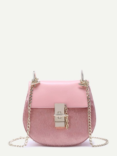 Pink Horse Hair Embellished PU Saddle Bag With Chain Strap