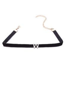 Black Velvet Metal Letter Minimalist Choker Necklace