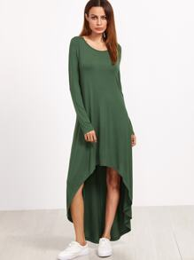 Green Long Sleeve High Low Tee Dress