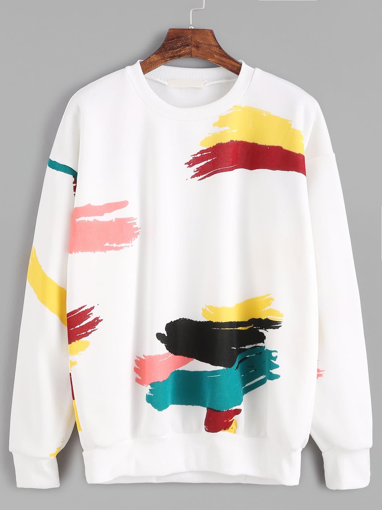 White Random Print Drop Shoulder Seam SweatshirtWhite Random Print Drop Shoulder Seam Sweatshirt<br><br>color: White<br>size: L,M,XL,XXL