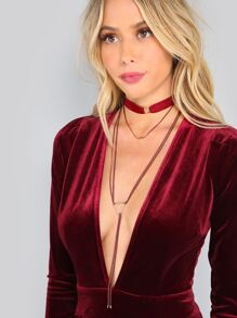 Triangle Pendant Wrap Ribbon Choker BURGUNDY