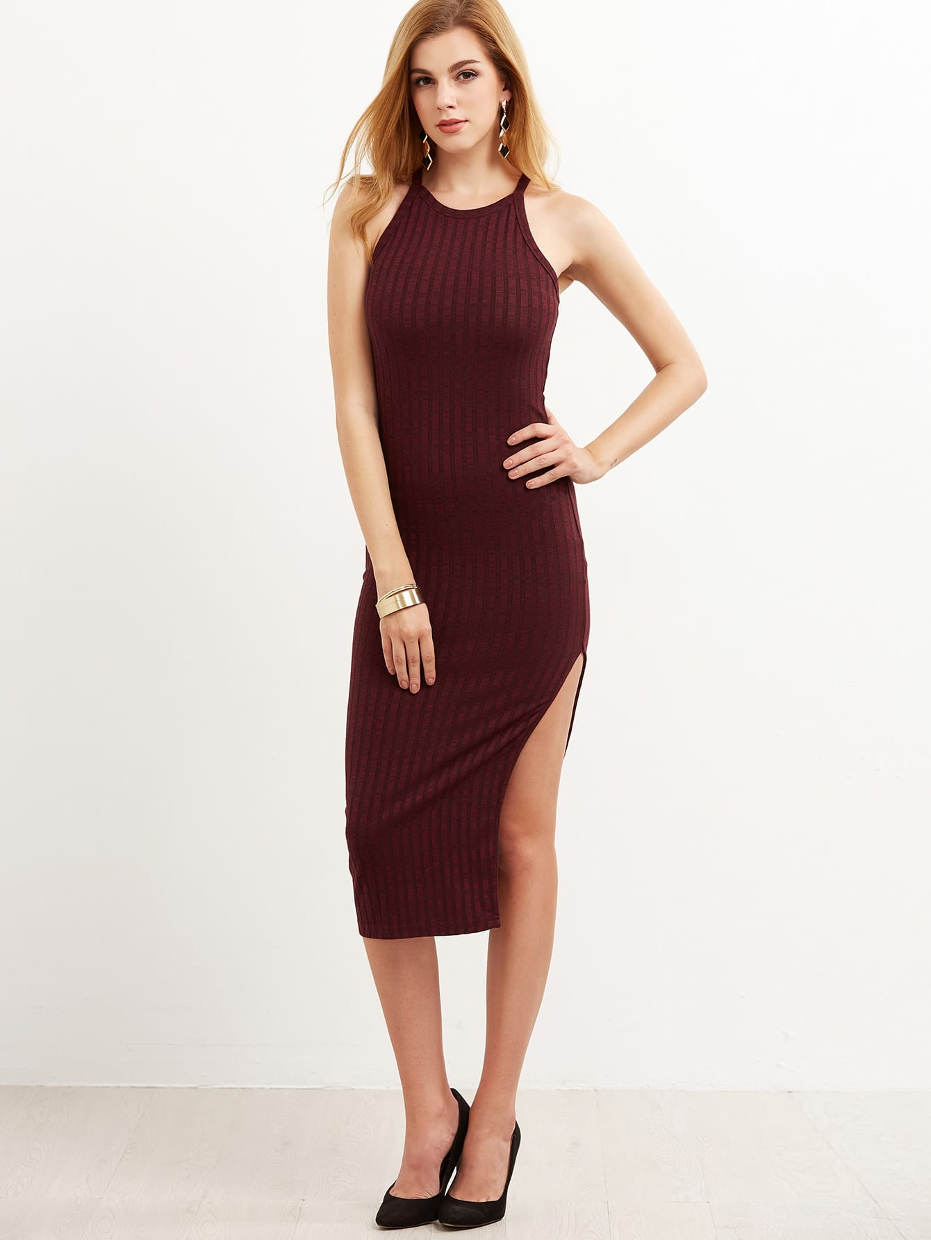 Burgundy Side Slit Ribbed Cami Dress dress161109707