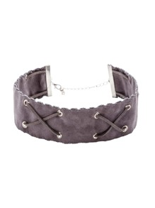 Grey Crisscross Band Wide Choker Necklace