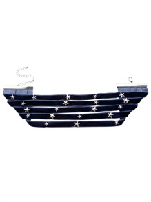 Navy Layered Metal Star Wide Choker Necklace
