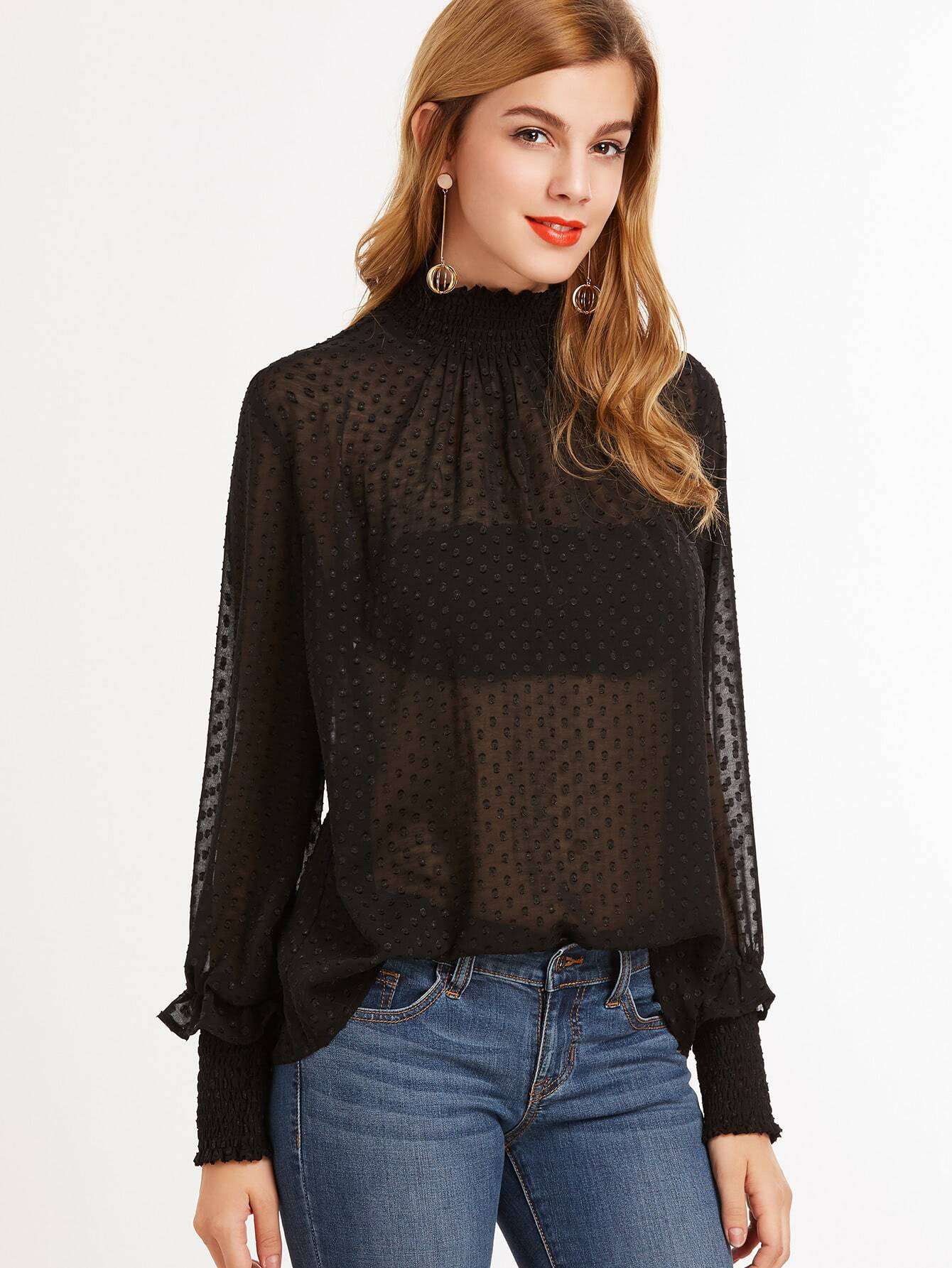Sheer Dotted Blouse With Smocked Detail sheer dotted blouse with smocked detail