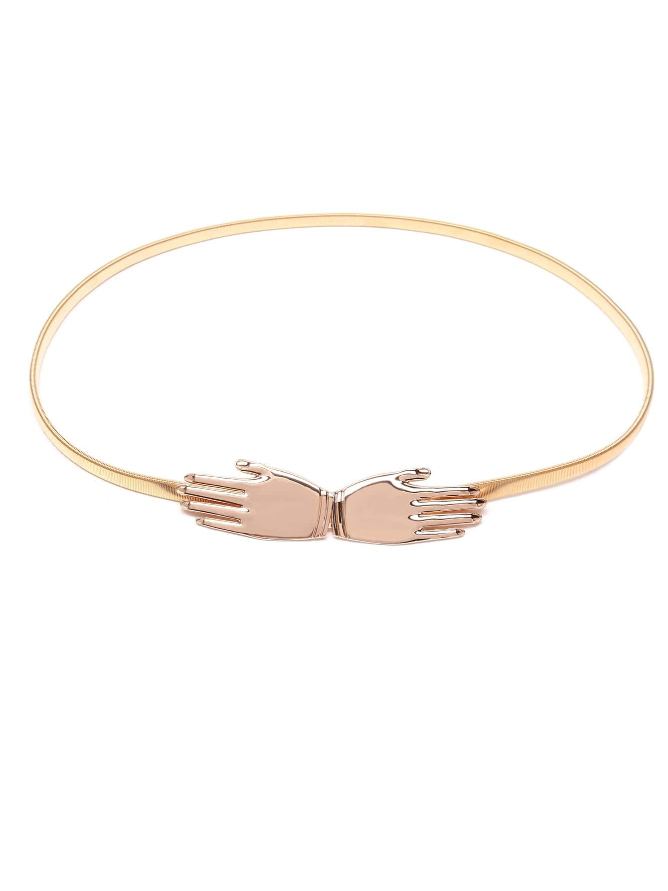 Hand Buckle Golden Metal Slim Elastic BeltHand Buckle Golden Metal Slim Elastic Belt<br><br>color: Gold<br>size: None