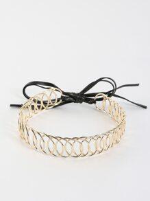 Wired Metallic Tie Choker GOLD
