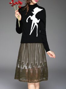 Black Deer Top With Pleated Embroidered Skirt
